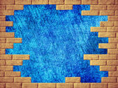 Blue abstract background and yellow brick frame. — Stock Photo