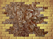 Brown abstract background with yellow brick frame. — Stock Photo