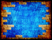 Blue grungy abstract background with yellow brick frame. — Stock Photo