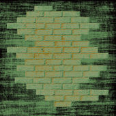 Grungy green abstract background with bricks wall inside. — Stock Photo