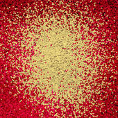 Red abstract background with golden confetti inside. — Stock Photo