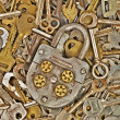 Stock Photo: Old lock and metal keys.