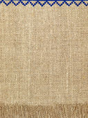 Linen natural texture pattern with fringe.Background. — Stock Photo