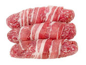 Raw meat rolls taken closeup.Isolated. — Stock Photo