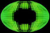 Green globe shape on black background with empty space inside. — Stock Photo