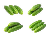 Set of ripe green cucumbers.Isolated. — Stock Photo