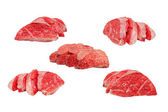Set of sliced cow lung.Isolated. — Foto Stock