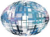 Azure abstract globe shape with checkered pattern on white backg — Stock Photo