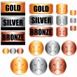 Stock Vector: Gold, silver and bronze medals