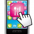 Smartphone with hand cursor opening restaurant application. Vector icon. - Stockvectorbeeld