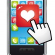 Open heart application on a a smartphone with hand cursor. vector icon. — Векторная иллюстрация