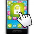 Smartphone with hand cursor opening security app icon. Data protection concept. Vector icon. — Stock Vector