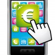 Smartphone with hand cursor opening banking application in euros. Vector icon. — Stock Vector
