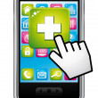 Stock Vector: Health application on smartphone. Open with hand cursor. Vector icon.