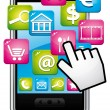 Smartphone with cloud of applications and hand cursor. Vector icon. - Imagen vectorial