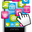 Smartphone with cloud of applications and hand cursor. Vector icon. - Stockvectorbeeld