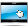 Digital tablet turned on with hand cursor. Vector icon. — Stock Vector