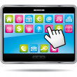 Digital tablet with apps and hand cursor. Vector icon. — Stock Vector