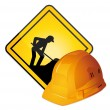 Under construction sign and hardhat. Vector icons. — Stock Vector