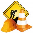 Under construction sign, hardhat and traffic cone. Vector icons. — Stock Vector