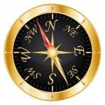 Golden compass icon. Vector illustration. — Stock Vector #12047287