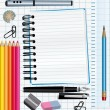 Stockvector : School supplies background. vector illustration.