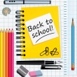 Back to school! School supplies vector illustration. — Stok Vektör