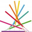 Creative illustration. Vector colored pencils pyramid. — 图库矢量图片
