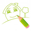 Green smiling house hand-drawn. Vector illustration. — Stock Vector