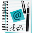 Open blue notebook for contact or blog concept. Vector illustration. — 图库矢量图片