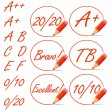 Education rating symbols surrounded by a red pencil. — Stock Vector