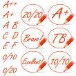 Education rating symbols surrounded by a red pencil. — Stock Vector #12048149
