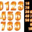 3D Gold numbers vector set. Zero to ten. Ten to hundred. — Vector de stock