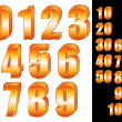 3D Gold numbers vector set. Zero to ten. Ten to hundred. — Vettoriale Stock
