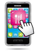 Smartphone mit hand-cursor, die restaurant-anwendung öffnen. vektor-symbol. — Stockvektor