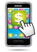 Smartphone with hand cursor opening banking application in dollars. — Stock Vector
