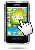 E-commerce shopping cart app on a smartphone. Vector icon. — Stock Vector