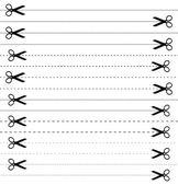 16 ciseaux avec les lignes de coupe. set vector. — Vecteur