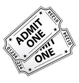Biglietti cinema vintage due isolati. icona del vettore. — Vettoriale Stock