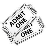 Dois bilhetes de cinema vintage isolados. ícone de vetor. — Vetorial Stock