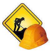 Bajo construcción firme y casco. vector iconos. — Vector de stock