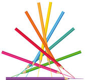Creative illustration. Vector colored pencils pyramid. — Stock Vector
