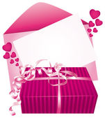 Pink gift and card. Vector icon. — Stock Vector