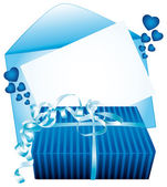 Blue gift and card. Vector icon. — Stock Vector