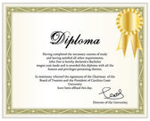 Vintage frame, certificate or diploma template with golden award ribbon. Vector illustration. — Stock vektor