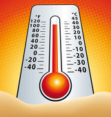 Hotness thermometer in the sand vector illustration — Stock Vector