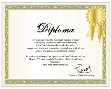Vintage frame, certificate or diploma template with golden award ribbon. Vector illustration.
