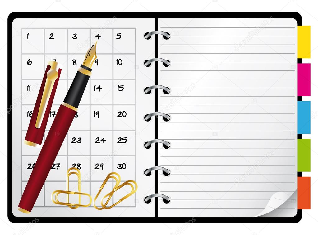 http://st.depositphotos.com/1012407/1204/v/950/depositphotos_12048025-stock-illustration-agenda-and-red-pen-vector.jpg