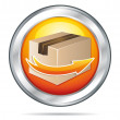 Royalty-Free Stock Vector Image: Delivery icon orange button with cardboard and arrow. Vector illustration.