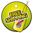 Free shipping green label vector illustration — Stock Vector